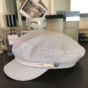 Baby blue mini white striped Brixton newsboy hat